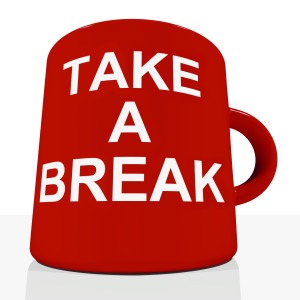 Take A Break Mug Showing Relaxing Or Tiredness