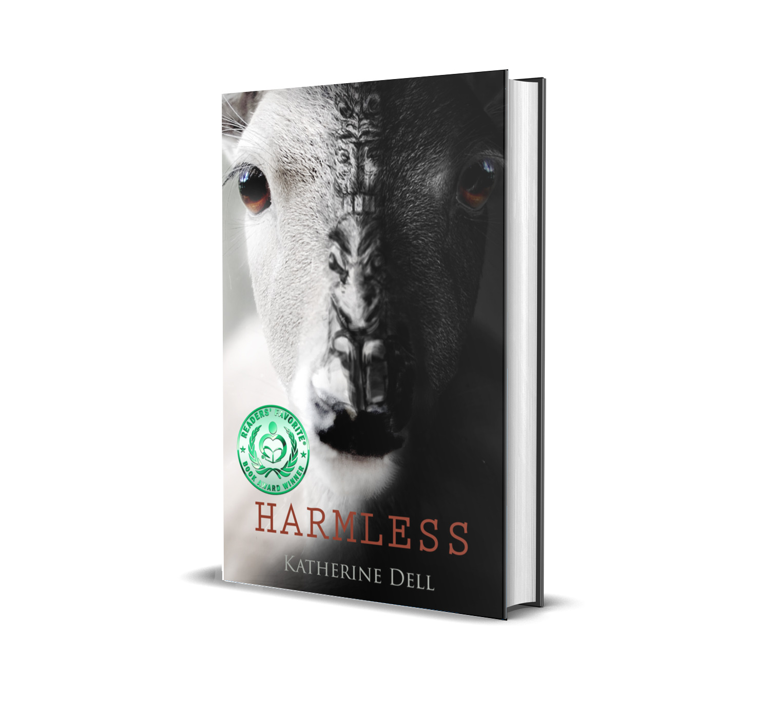 Harmless single cover mockup with green seal